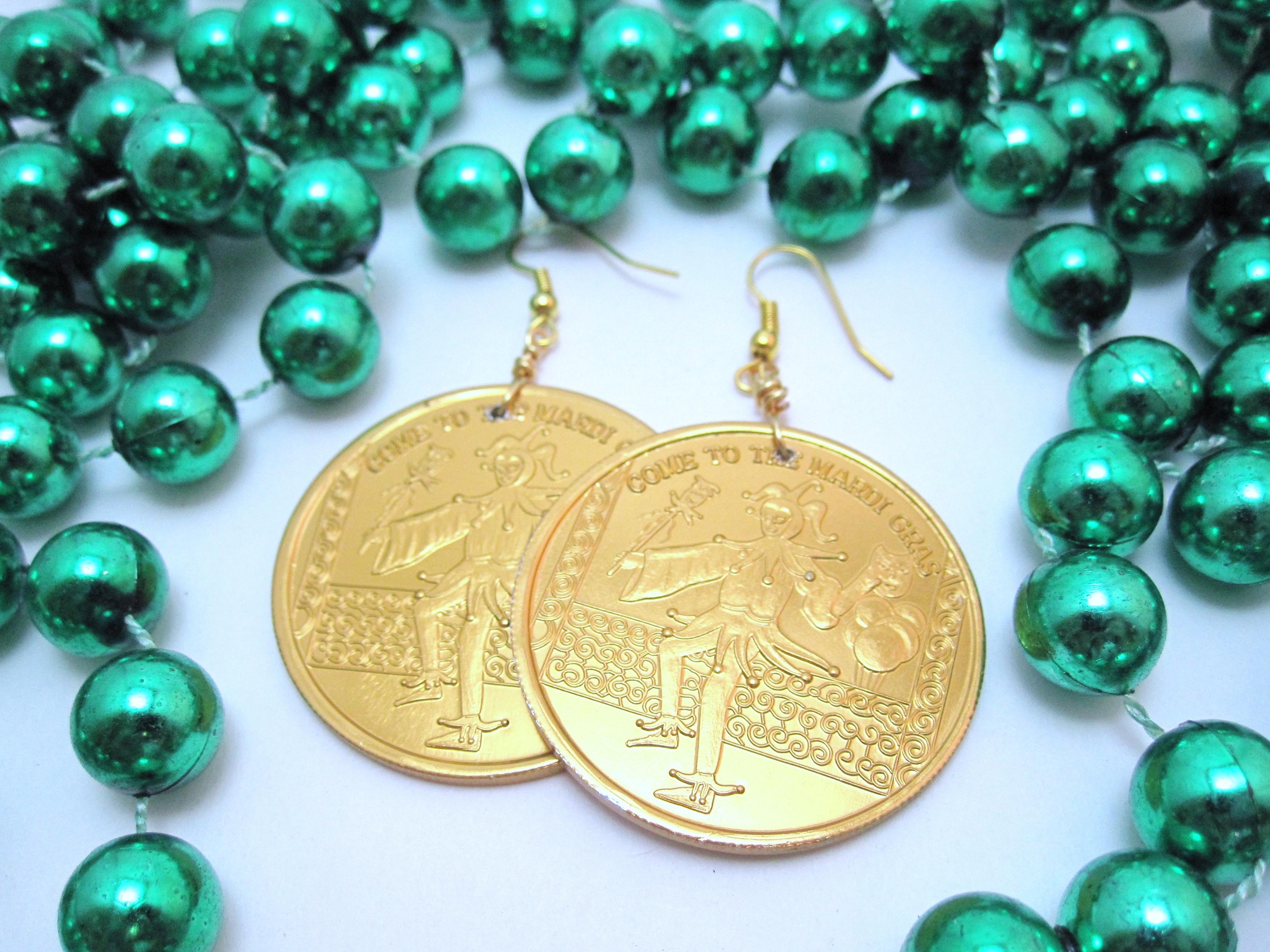 Mardi Gras doubloon earrings