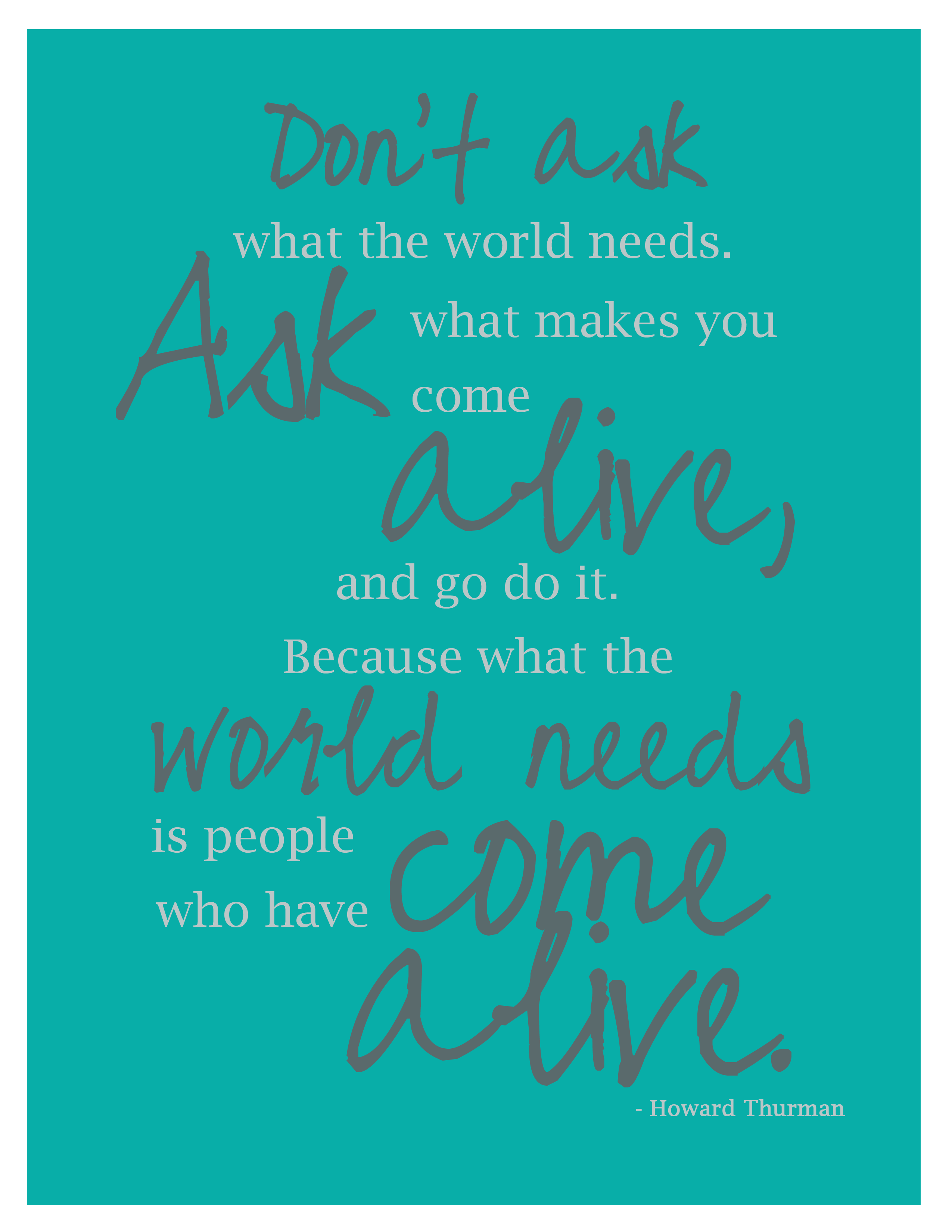 howard thurman quote poster
